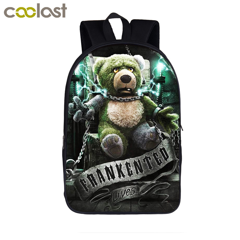 Punk Gothic Girls / Bear Doll Backpack For Teenagers Girls Children School Bags Men Women Casual Bag Street Rock Backpacks