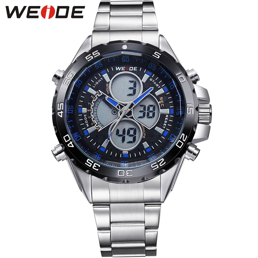 WEIDE Luxury Brand Watch For Men Business Watches Analog Digital Quartz 3ATM Water Resistant Stainless Steel Straps New Watches weide high quality watch men luxury brand big dial 3atm water resistant stainless steel back lcd wristwatches with alarm items