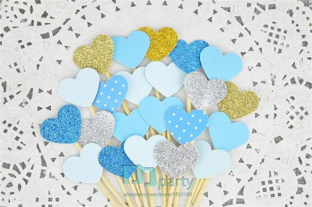 40PCS Custom Handmade Ocean Blue Heart Wedding Cupcake Toppers Baby Boys Birthday Party Decoration