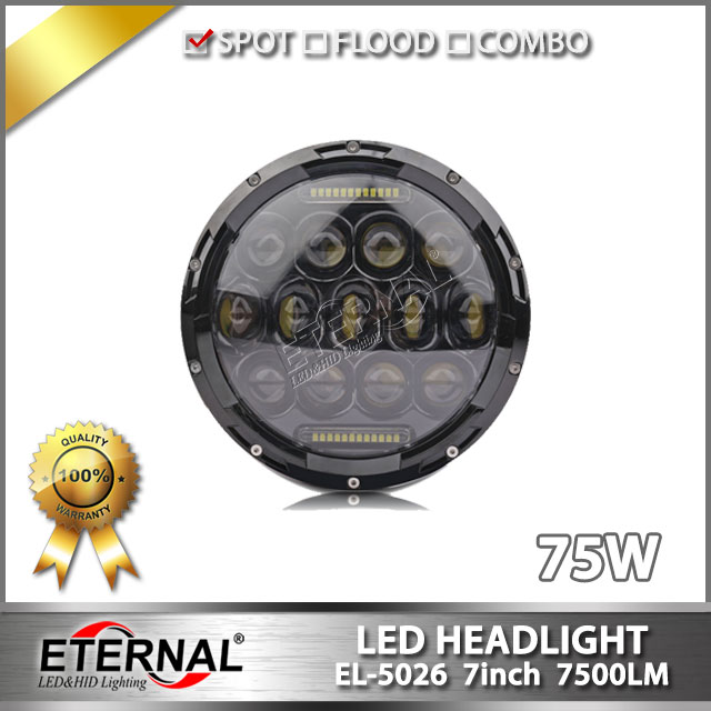 Free shipping pair-75W round LED headlight dual sealed beam 7in TJ JK FJ 4x4 off-road motorcycles high power headlamp replcement