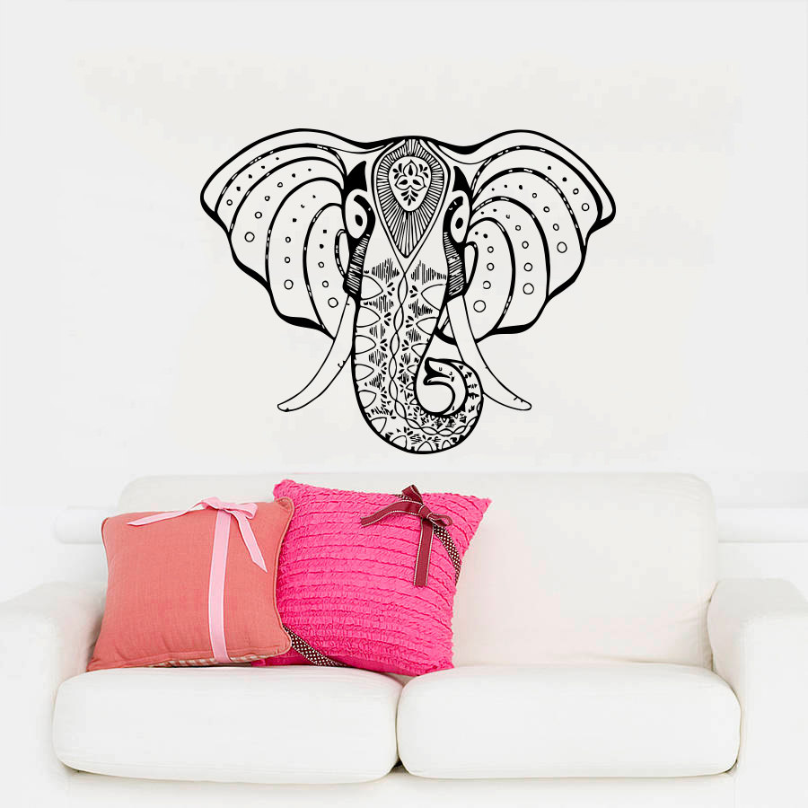online get cheap wall murals religious aliexpress com alibaba group bohemian elephant head silhouette wall murals indian style home religious series decorative vinyl wall stickers decal