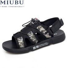 MIUBU Sandals Men shoes 2019 Gladiator Mens Roman Shoes Summer Flip Flops Brown Black Camouflag Flat