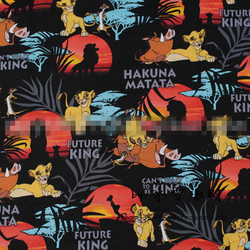 Dibujo lindo El Rey León Simba Timon Pumbaa Rafiki Sunset estampado algodón Patchwork tela costura tela vestido DIY textil