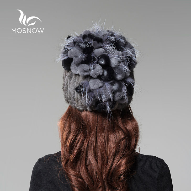 정품 밍크 모피 겨울 모자 여성 렉스 토끼 꽃 솔리드 - 의류 액세서리 - 사진 3