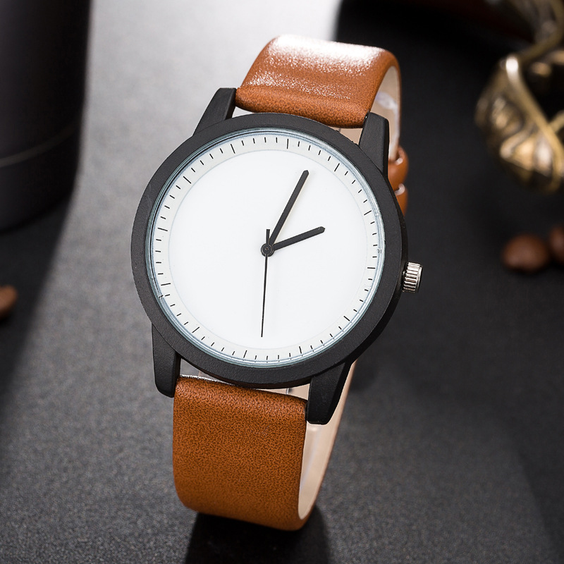 Woman Fashion Leather Band Analog Quartz Round Wrist Watch Watches Fashion simple ladies watch 2018 super speed v0169 fashionable silicone band men s quartz analog wrist watch blue 1 x lr626