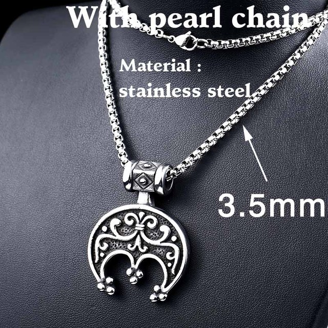 316l Stainles Steel Norse Vikings Moon Crescent Necklace Pendant