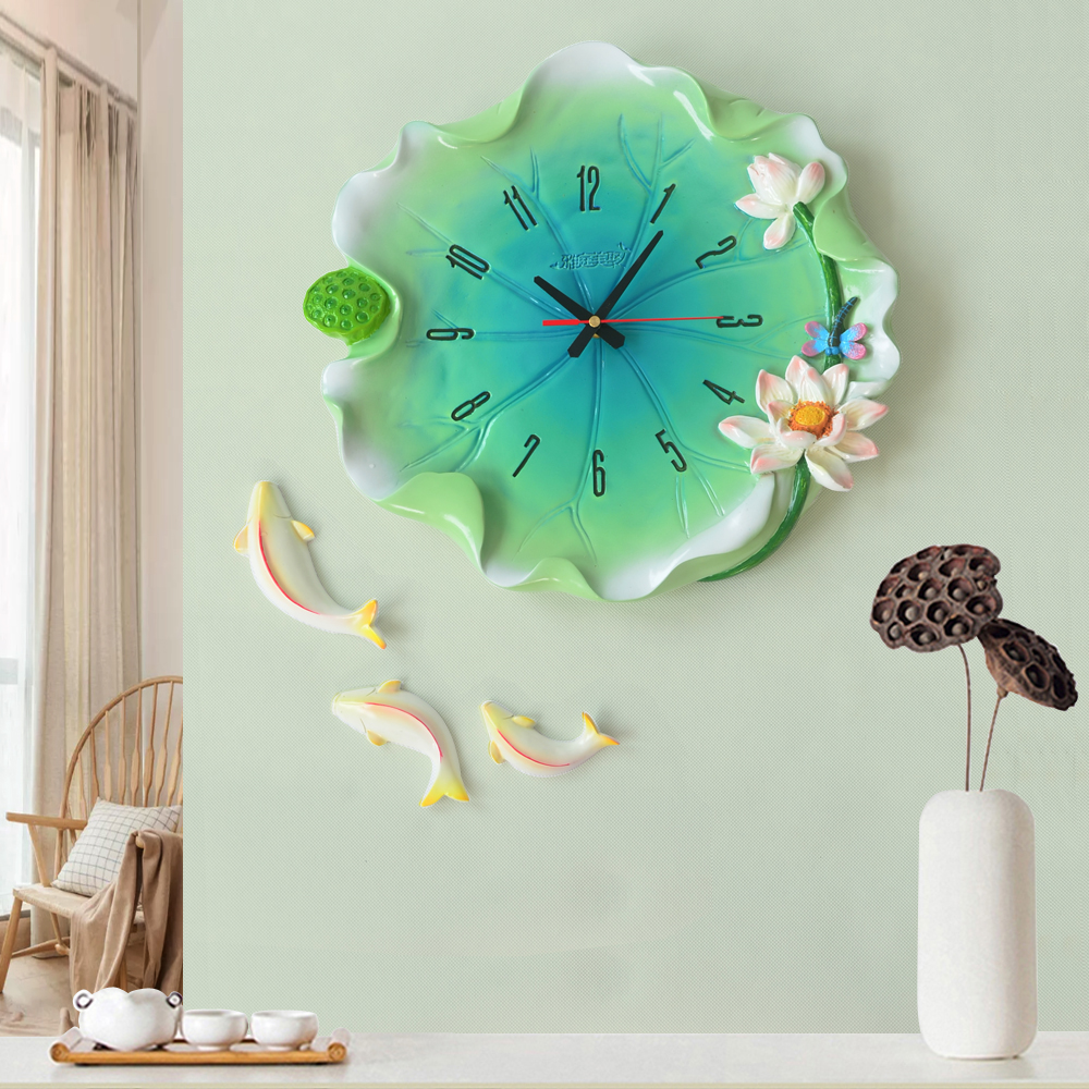 New Chinese Resin Lotus Leaf Wall Clocks Decorative Crafts Home Livingroom Mute Wall Clock Wall Hanging Fishes Ornaments Murals