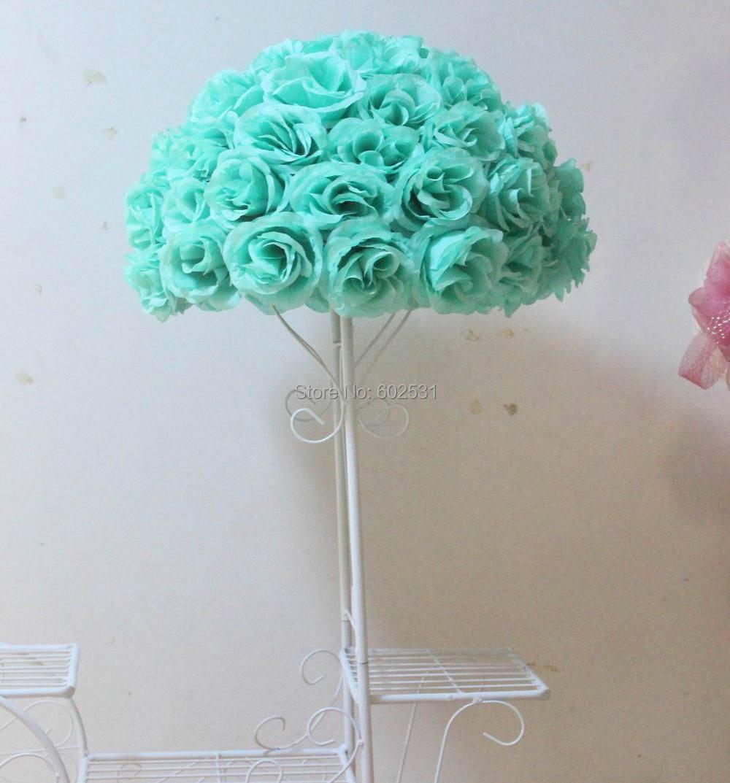Spr 2016 35cm New Design Tiffany Blue Rose Kissing Ball Artificial