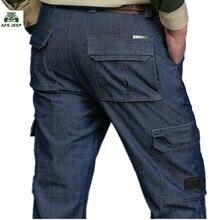 Neue marke Herbst und winter mann Jeans Männer Hosen gerade Baumwolle Male Denim Marke Jeans Mehr tasche overalls