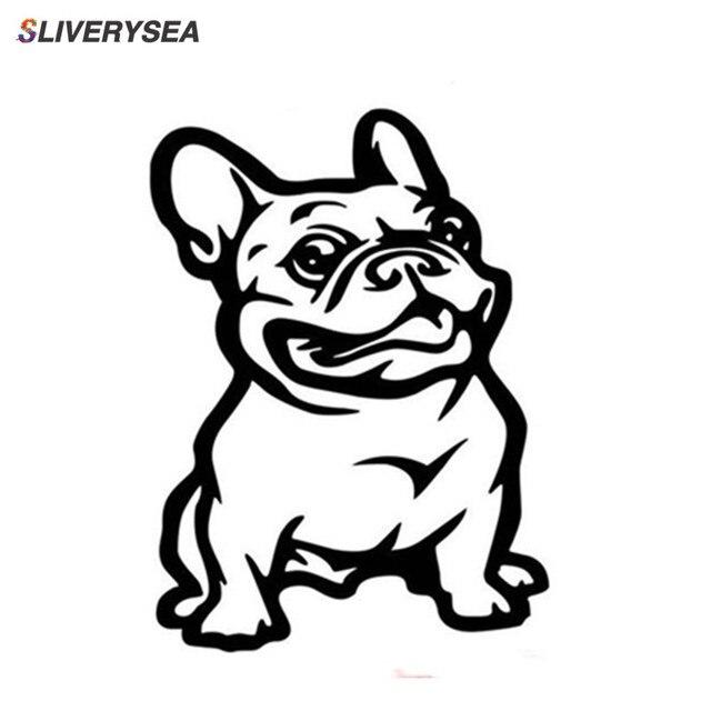 SLIVERYSEA Nieuwe Sterke Lijm 3d Stickers Franse Bulldog Hond Auto Sticker Vinyl Auto Decal Custom Raam Deur Muur Sticker