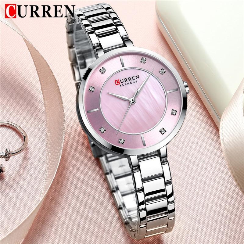 CURREN Women Watch Waterproof Top Brand Luxury Silver Female Clock Stainless Steel Band Classic Bracelet Ladies Wristwatch 9051