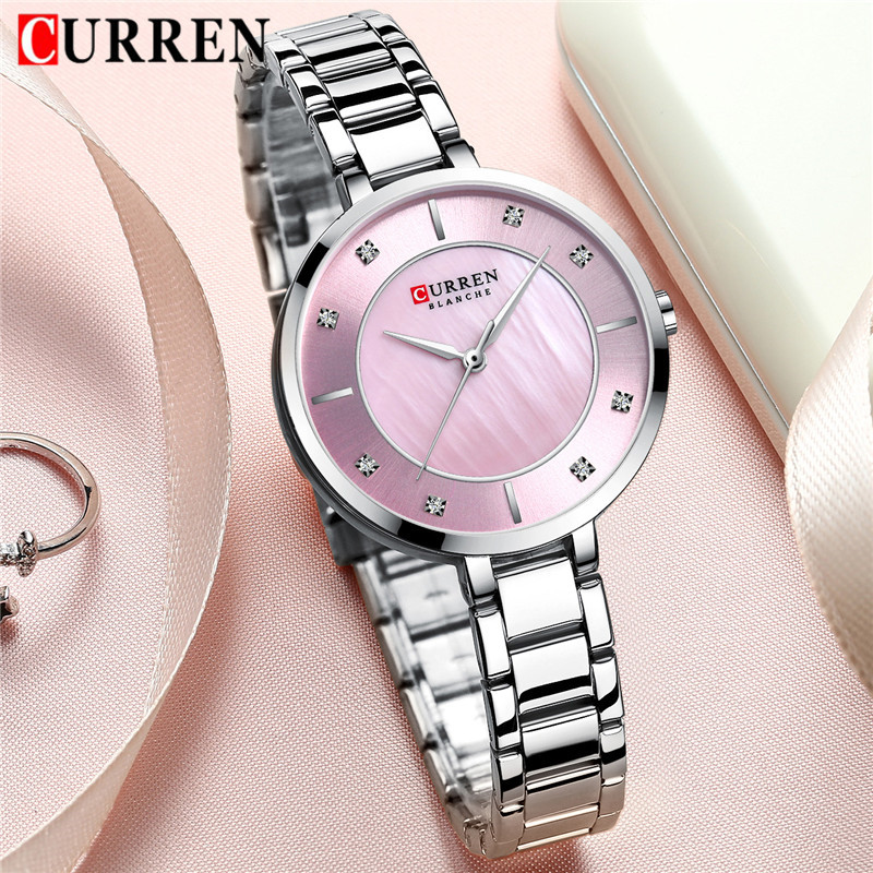 CURREN Women Watch Waterproof Top Brand Luxury Silver Female Clock Stainless Steel Band Classic Bracelet Ladies Wristwatch 9051