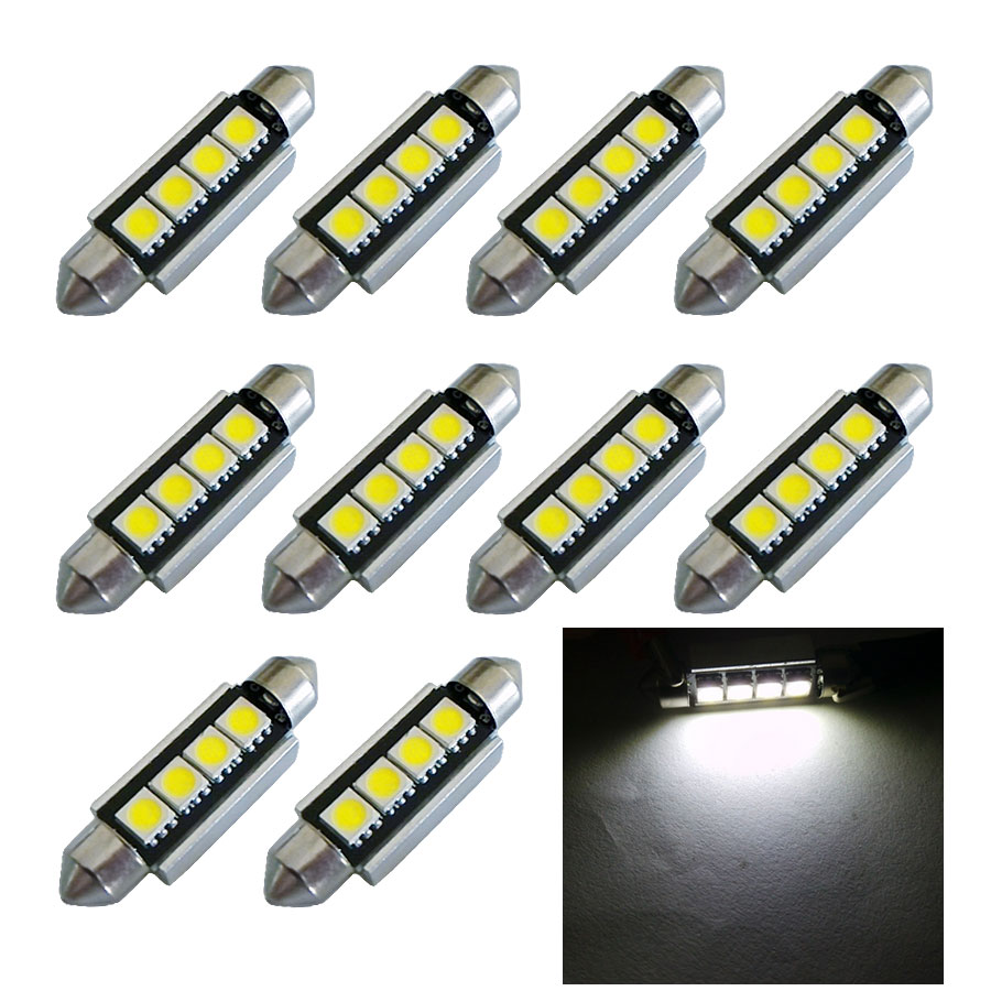 10pcs High Quality 42mm c5w 4 MD 5050 LED Canbus NO Error Free Car Interior Festoon Dome Light Auto Reading Lamps Bulb white 12V high quality 31mm 36mm 39mm 42mm c5w c10w super bright 3030smd car led festoon light canbus error free interior doom lamp bulb