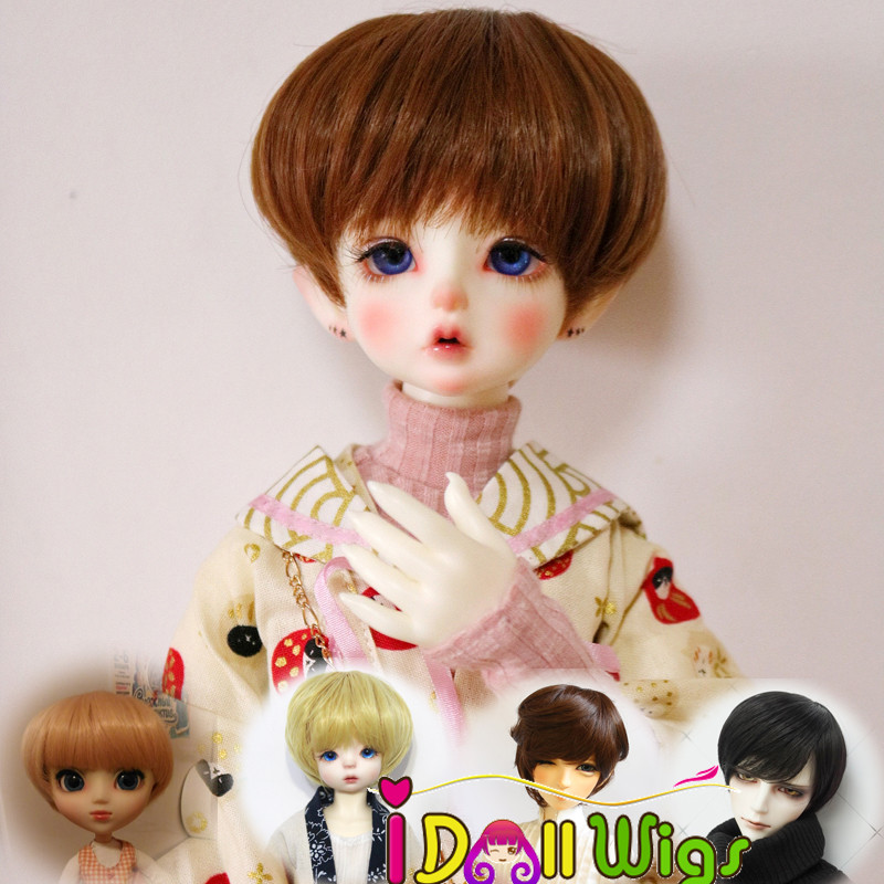 Learned High Quality Heat Resistant Wire Short Khaki Brown Green Blue Hair Wigs For Bjd 1/3 1/4 1/6 Dolls Diversified In Packaging