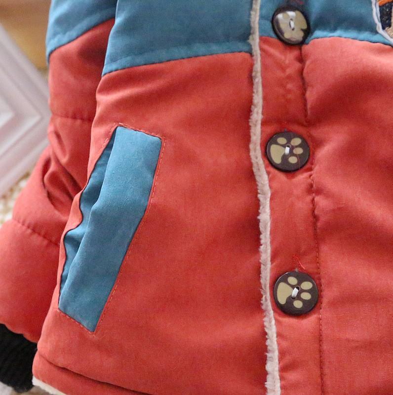 Мальчики куртка детская зимнее пальто bebe теплый плюшевые капюшоном снег носить толстые куртки для мальчиков одежды младенца snowsuit