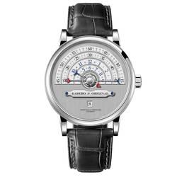 KAREBO Для мужчин ультратонкие полукругом шкала времени механические наручные часы с ETA2824 Automtatic self-ветер двигаться Для мужчин t часы-серый