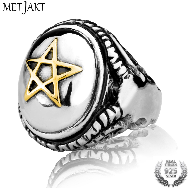 MetJakt Vintage Punk Golden Pentagram and Devil Sheep Head Ring Solid 925 Sterling Silver Ring for Mens Gothic Jewelry цена 2017