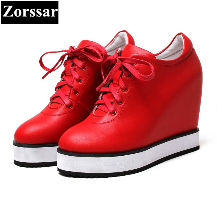 {Zorssar} 2017 Genuine leather Womens platform Pumps Shoes Wedges High heels Women height increasing shoes female casual shoes zorssar 2018 spring new casual women shoes genuine leather heels pumps slip on wedges platform high heels womens creepers shoes