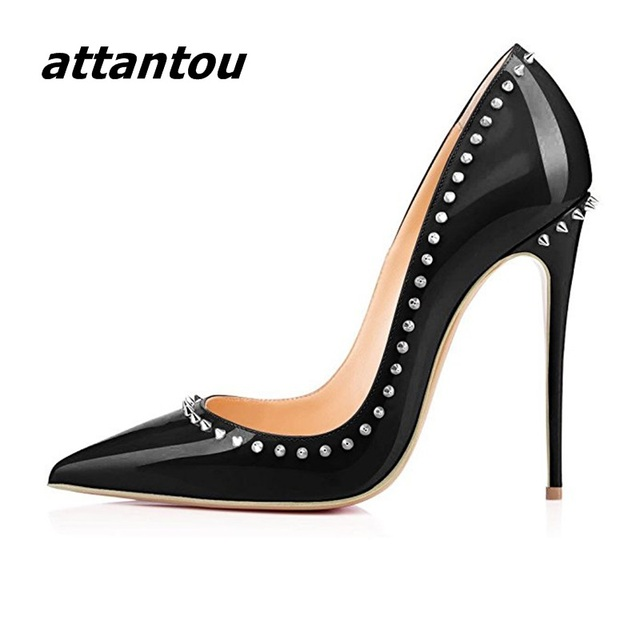 Fashion Black Patent Leather High Heels Women Sexy Pointy Stiletto High Heel Pumps Trendy Rivets Slip-on High Heel Party Shoes