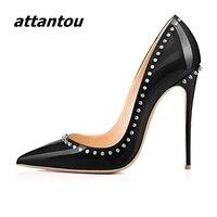 Fashion Black Patent Leather High Heels Women Sexy Pointy Stiletto High Heel Pumps Trendy Rivets Slip