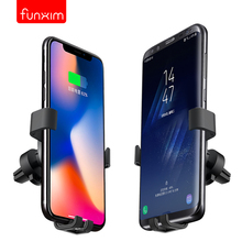 New fast wireless charger Vehicle mounted 360 degree mobile phone holder X7 outlet clamp for iphoneX 8 S8 general Qi standard