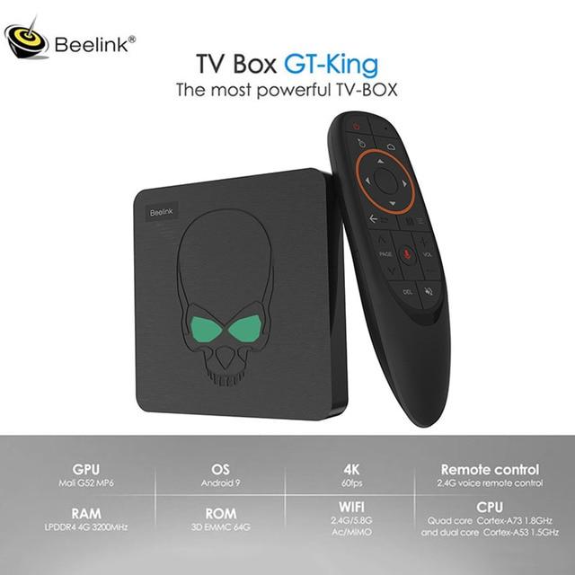 Beelink Gt Koning Android 9.0 4K Tv Box Amlogic S922X 4 Gb DDR4 Ram 64 Gb Rom 1000M lan 5G Wifi Bluetooth 4.2 Smart Tv Box