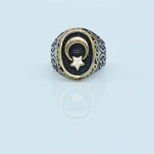 Image 3 - Nova chegada anel venda quente muçulmanos clássico lua e estrela requintado masculino anel tamanho 8,9, 10,11
