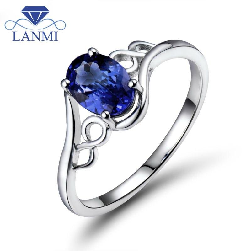 महिलाओं के लिए सुरुचिपूर्ण 18Kt सफेद सोने की प्राकृतिक Tanzanite अंगूठी शादी का सबसे अच्छा उपहार WU283