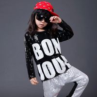 5pcs/lot Long Sleeves Sequin Hip Hop Dance Costume for Kids Boys Girls Stage Show Competition Children Jazz Clothes Hiphop Wear