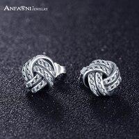 ANFASNI Elegant Interpretation 925 Sterling Silver Sparkling Love Knots Clear CZ For Women Love Gift PSER0070