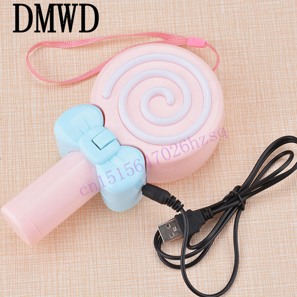 DMWD USB Fan mini portable hand-held small electric fan outdoor mute large wind student children cute candy barrow g1 4 female to female extender 15mm pc water cooling system water cooling fitting tbzt a15