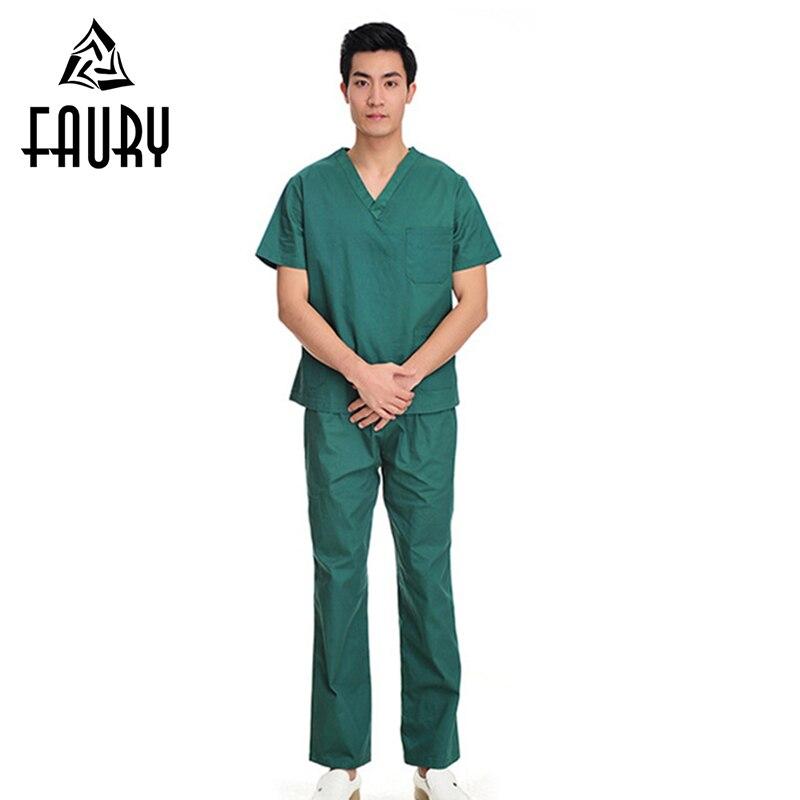 Short Sleeve Summer Doctor Nurse Uniform Hospital Medical Scrub Set Clothes V-Neck Surgical Tops Pants Dentist Clinic Overalls