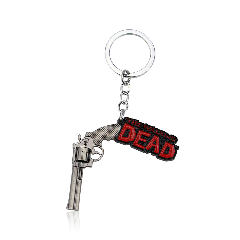 The walking dead inspired keyring pistol shape metal key chain