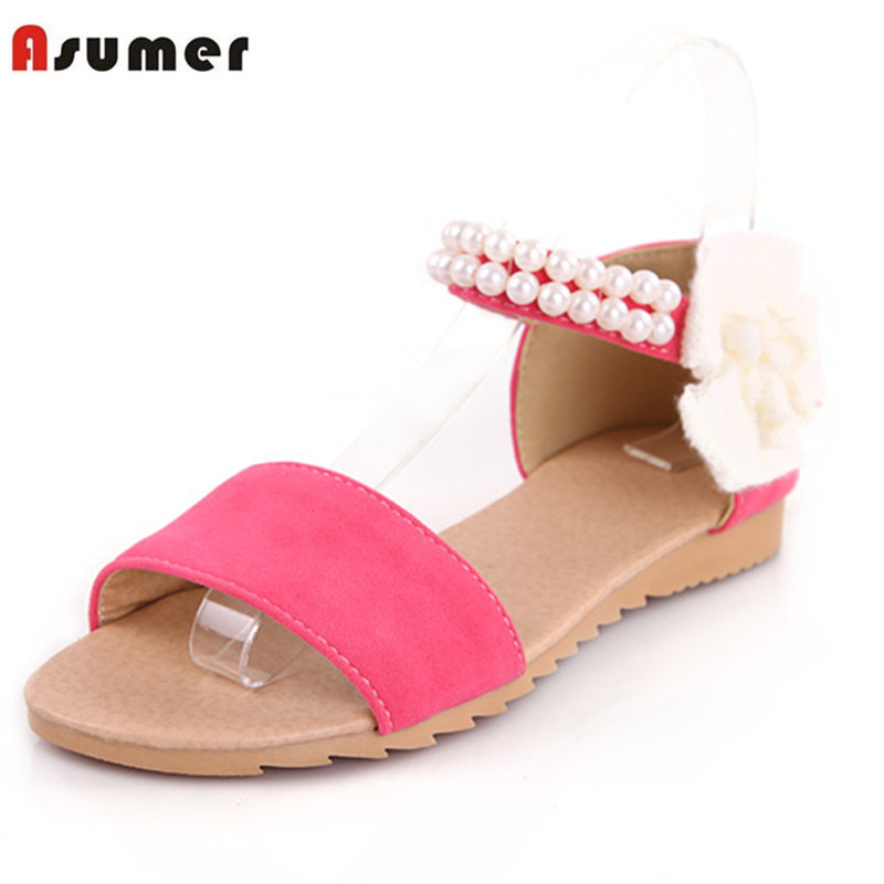 Asumer Large size 34-43 PU solid women shoes sandals applique three colors summer shoes party fashion sweet open-toed morazora bind pu solid high heels shoes 5cm in summer fashion elegant party shoes sandals party large size 34 42