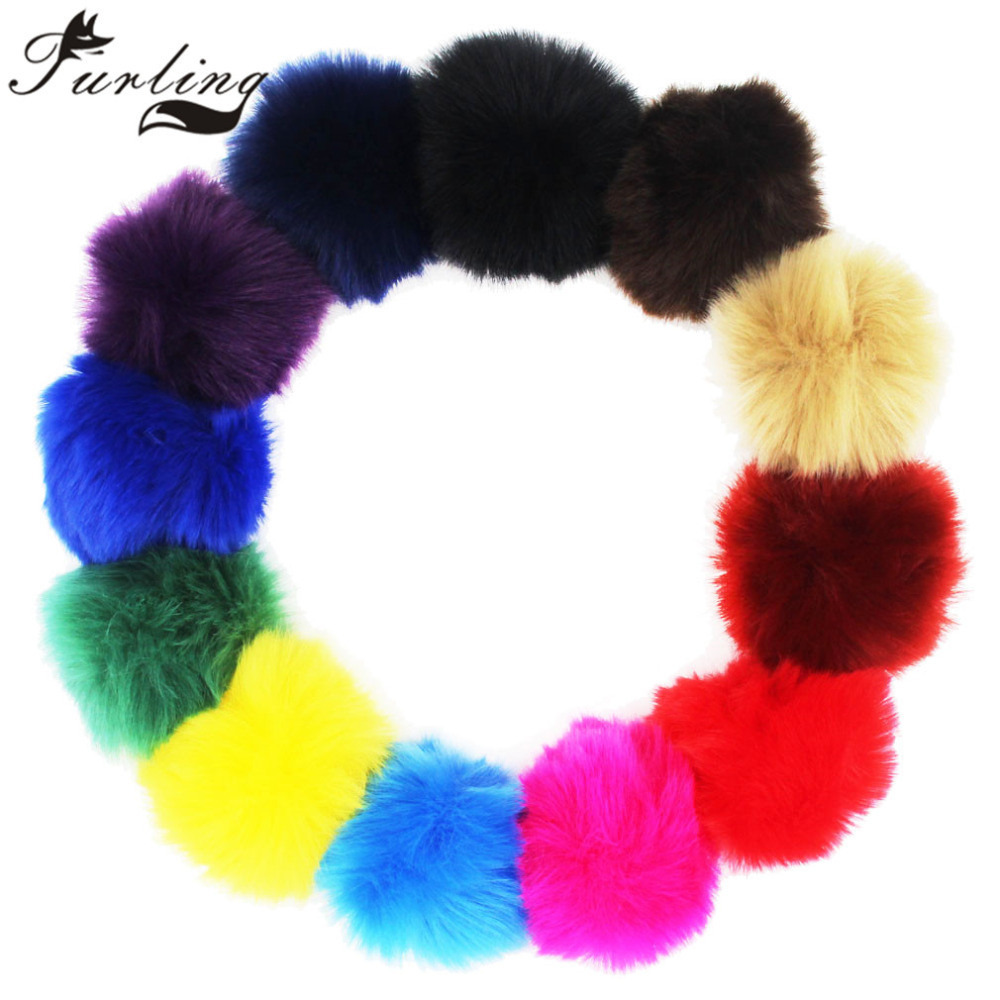 Furling DIY 1pc Great 8CM Faux Fur Pom poms Ball for Knitting Hats Accessories Key Chain Parts