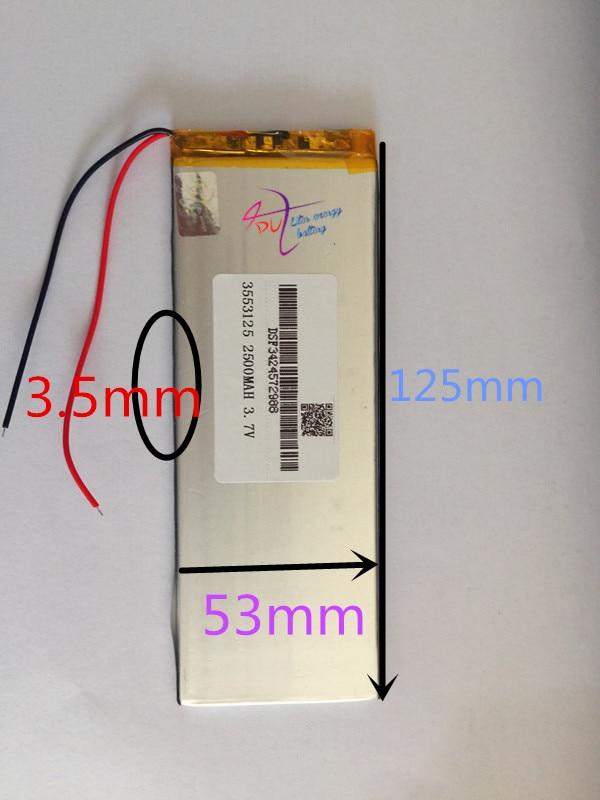 Wholesale 10pcs 3.7V 2500mah 3553125 Lithium Polymer Li-Po Rechargeable Battery For Mp4 GPS PSP PAD E-Book tablet pc power bank 3 7v lithium polymer battery 505050 1400mah mp4 mp5 psp consoles