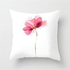 Image 3 - Fuwatacchi Einfache Malerei Blume Feder Kissen Abdeckung Flamingo Ananas Blätter Solide Kissen Fall Hause Dekoration Zubehör
