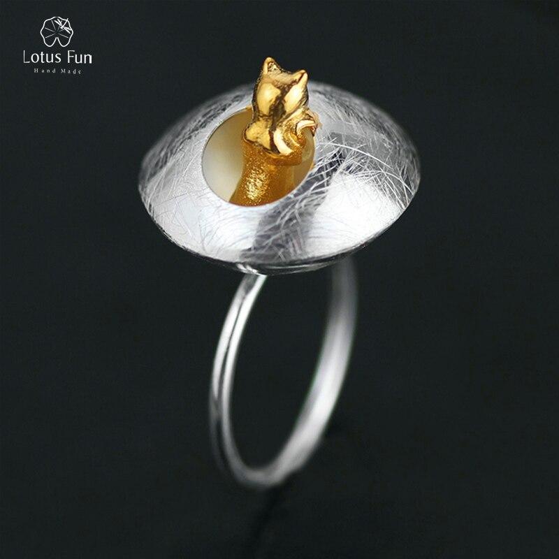 Lotus Fun 100% véritable solide 925 en argent Sterling anneaux pour femmes chats animaux réglable anneaux uniques bijoux fins livraison directe