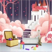 Wallpaper For Girls Room Cartoon Romantic Castle Red Design Wallpaper Wall Mural Painting Modern Living Room