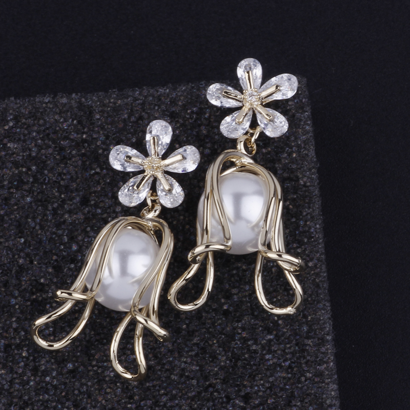 CocoANGEL Natural Fresh Water Pearl Crystal Copper Electroplating Flora Sterling Drop Earring For Women in Drop Earrings from Jewelry Accessories