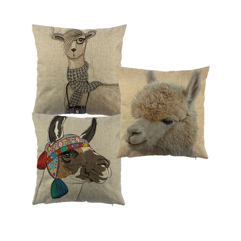 alpaga taie d'oreiller lin taie d'oreiller chambre euro - Textiles de maison