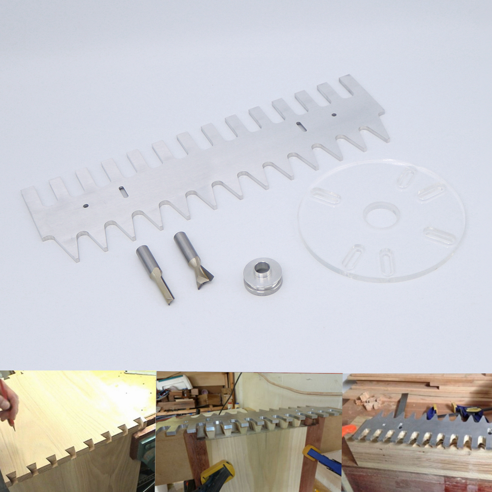 15/16 Aluminum Dovetail Jig Template with Dovetail Bit and Straight Router Bit 1 2inch aluminium jig template