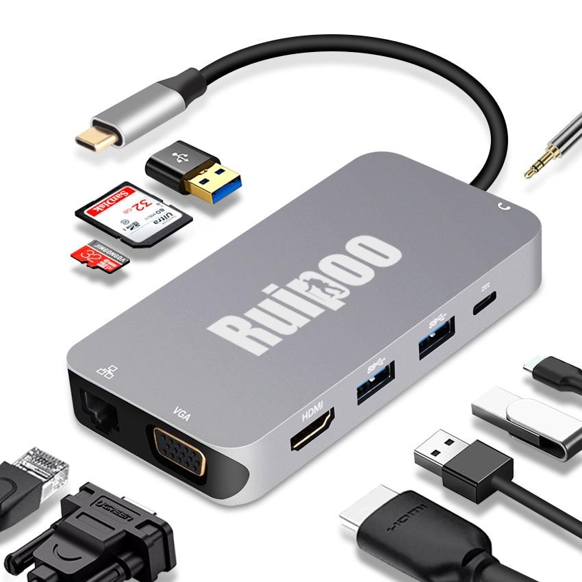 Le type-c vers RJ45/VGA/HDMI/HUB/PD/Audio prend en charge l'affichage simultané de la station d'accueil multifonction 10-en-1