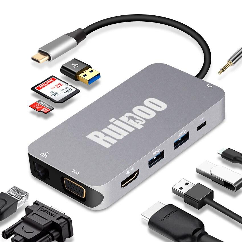 Thunderbolt 3 USB type C vers HDMI 4 K VGA USB3.0 RJ45 TF SD Slot USB-C Hub PD femelle adaptateur Portable Dock pour Macbook Pro 2017