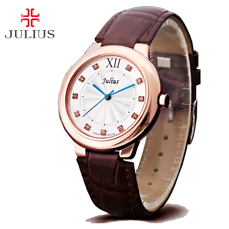 Top Lady Women's Watch Japan Mov't Elegant Rhinestone Fashion Hours Dress Bracelet Leather Simple Girl Gift Julius Box top julius lady women s watch japan quartz elegant rhinestone large number fashion hours dress bracelet leather big girl gift