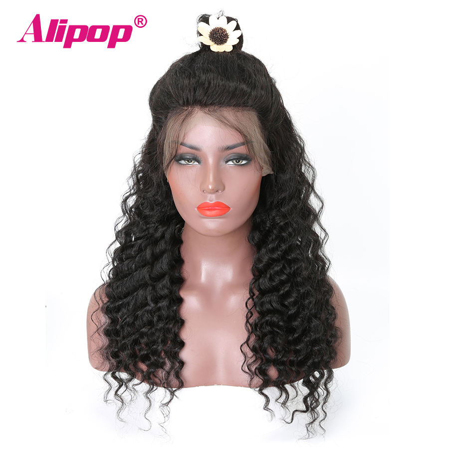 Deep Wave 360 Lace Frontal Wig Brazilian 150 Density Lace Front Human Hair Wigs ALIPOP Human Hair Wig Remy 360 Lace Wig
