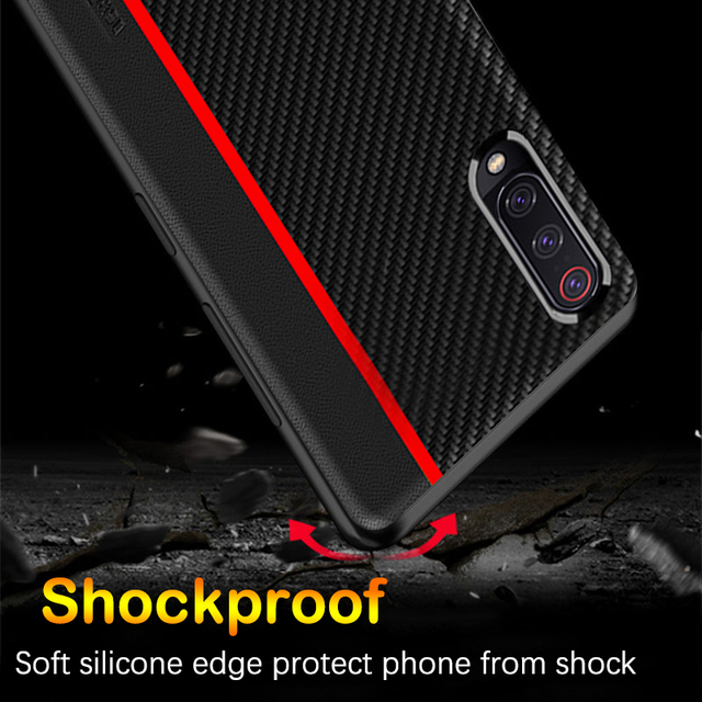 Samsung A30 A50 A70 Luxury Carbon Fiber Leather Soft Edge Protection Back Case Cover