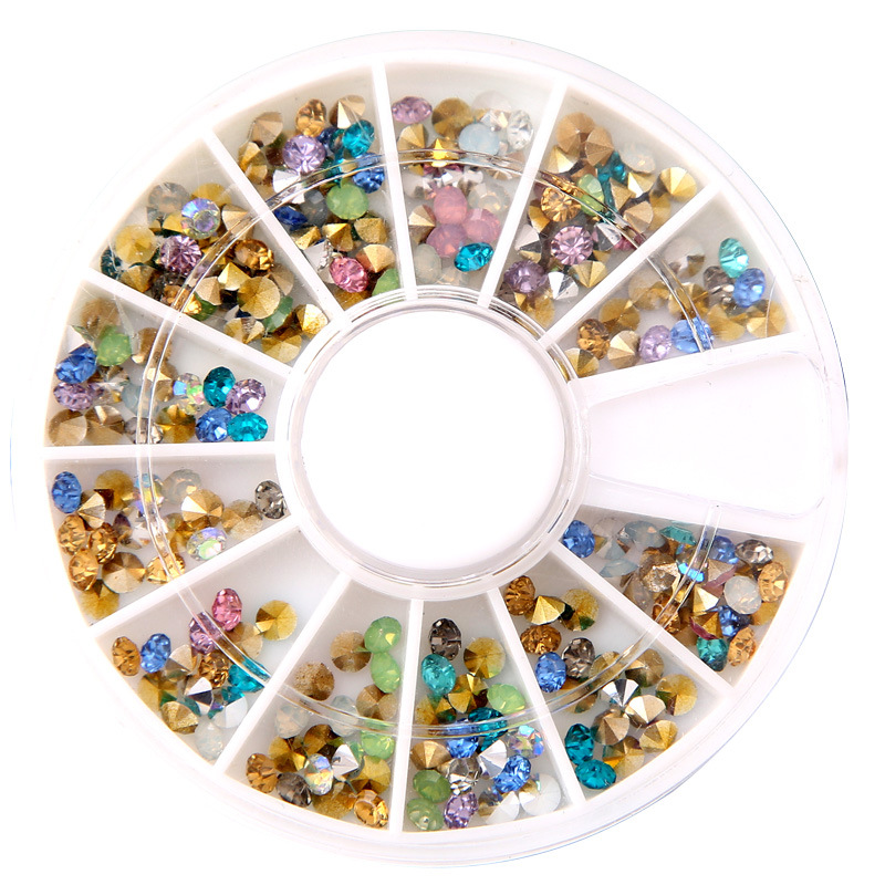 Nail Art Wheel Rhinestone Gold Mixed Color Nail Gems AB Crystal Glitter 3D Tips Accessoires Manicure Tools Decoration DIY Design