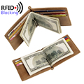2016 RFID Blocking Leather Wallet for Men Slim Money Clips MINI RFID Protection Wallets Men's Famous Design Brand Luxury Purse