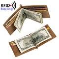 2016 RFID Bloqueo Carpeta del Cuero Delgado Money Clips MINI Protección RFID Carteras hombres Famosa Marca de Diseño de Lujo monedero